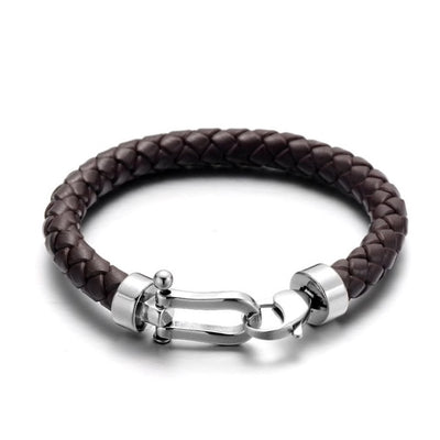 Brown Leather Silver Clasp Bracelet