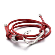 Red Leather Fish Hook Bracelet