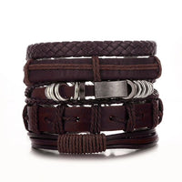 Five Piece Brown Leather & Hoop Bracelet Set