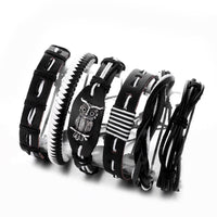 Five Piece Black & white Leather Bracelet Set