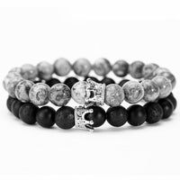 Black & Grey Crown Bead Bracelet Combo