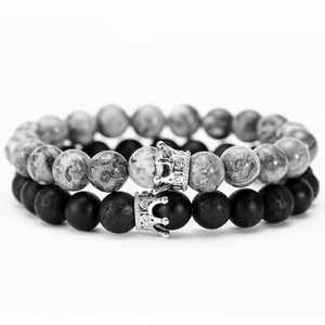 Black & Grey Crown Bracelet Combo