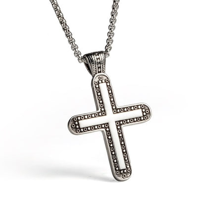 Stainless Steel Patterned Cross Necklace