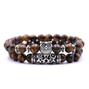 Double Tiger Eye Bead Bracelet Set