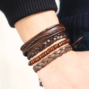 Four Piece Brown Leather Bracelet Set