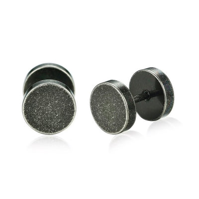 Brushed Steel Stud Earrings