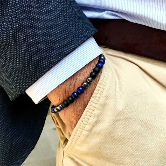 Blue & Black Bead Bracelet