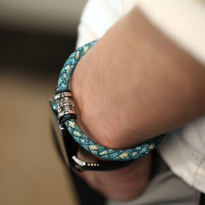 Green Leather Skull Bracelet