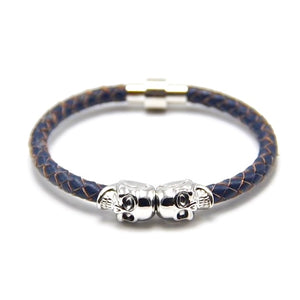 Blue Leather Magnetic Skull Bracelet