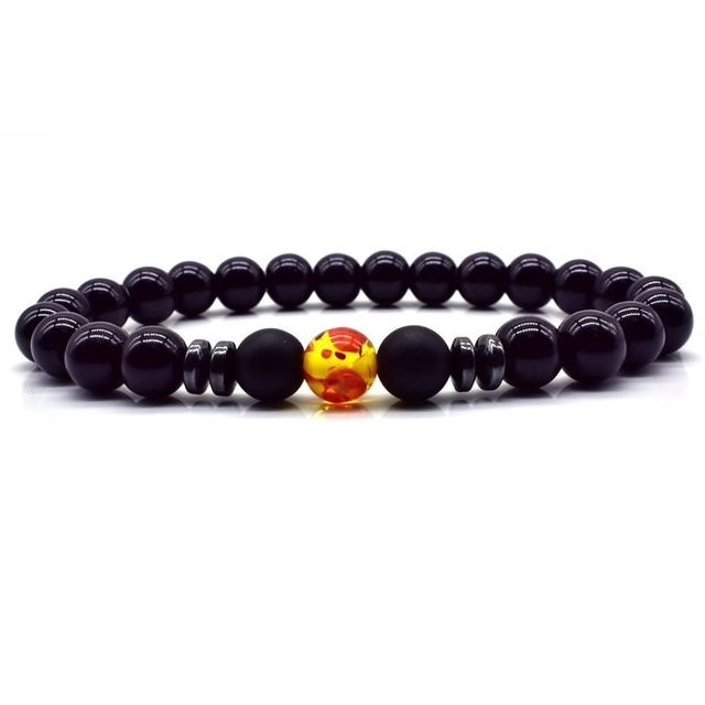 Black Bead Fire Bracelet