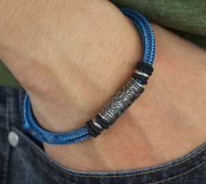 Blue Steel Rope Bracelet