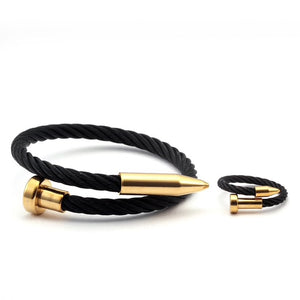 Black Steel Twist Nail Bracelet