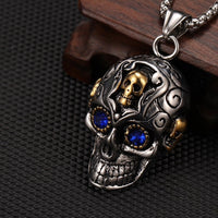Silver & Gold Gem Skull Necklace UK