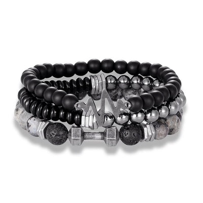 Triple Hematite Dumbbell Bracelet Set