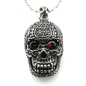 Stainless Steel Red Eye Skull Necklace