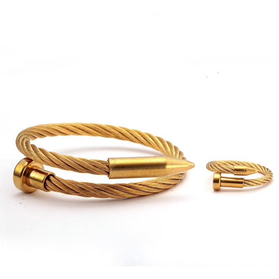 Gold Steel Twist Nail Bracelet