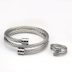 Silver Steel Twist Bracelet & Ring Set