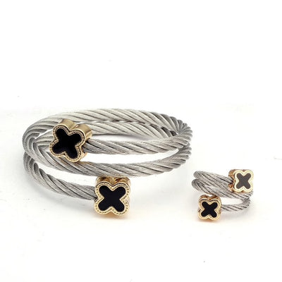 Silver Cross Steel Twist Bracelet & Ring Set
