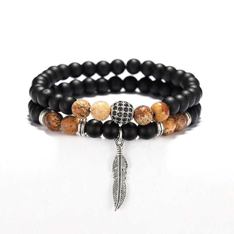 Black Feather & Orb Bracelet Combo