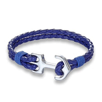 Braided Blue & Silver Anchor Bracelet