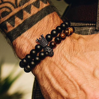 Double Skull & Crown Black Bead Bracelet Set