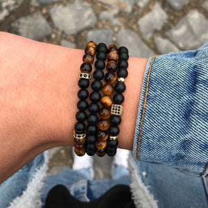 4 Piece Tigers Eye & Black Bracelet Set