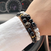 Black & White Lion Bead Bracelet Set