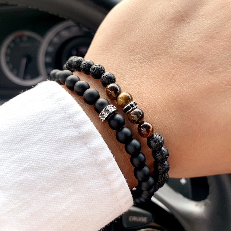 Double 6mm Black Bead Bracelet Set