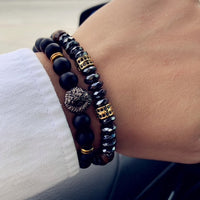 Black Bead Lion Bracelet Set