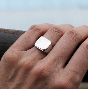 Steel Silver Signet Ring