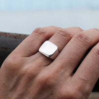 Stainless Steel Silver Signet Ring Online