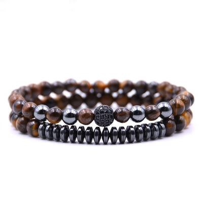 Double Tigers Eye & Hematite Bead Bracelet