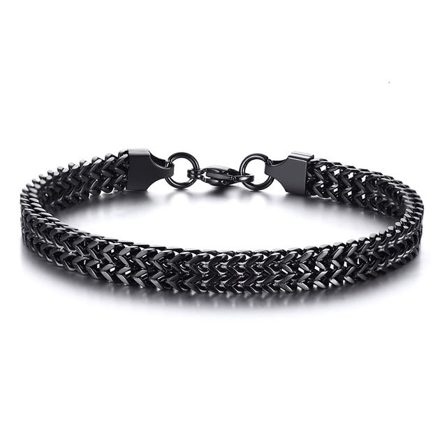 Stainless Steel Black Foxtail Bracelet