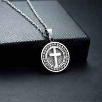 Stainless Steel Cross Disc Necklace
