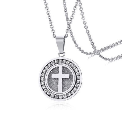 Steel Cross Disc Necklace