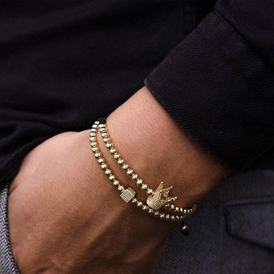 Double Gold Crown Bracelet Set