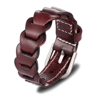 Genuine Leather Brown Buckle Bracelet