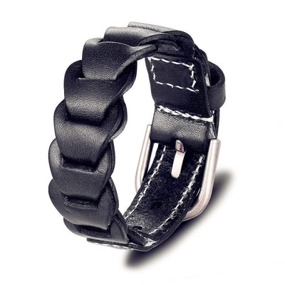 Black Leather Buckle Bracelet