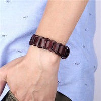 Mens Leather Buckle Bracelet