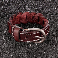 Brown Leather Buckle Bracelet