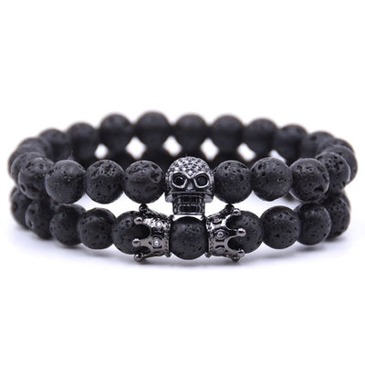 Double Crown & Skull Lava Bead Bracelet Set