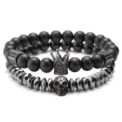 Double Crown & Skull Bead Bracelet Set
