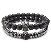 Double Crown & Skull Bracelet Combo