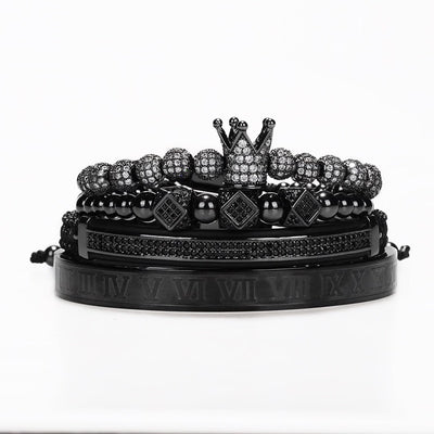 4 Piece Black & Silver Bracelet Set