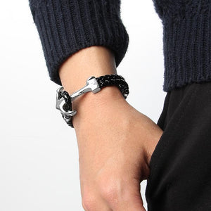 Mens Braided Black and Silver Anchor Bracelet