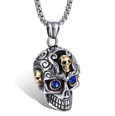 Silver & Gold Gem Skull Necklace