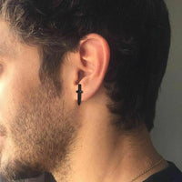 Black Steel Stud Earrings for men