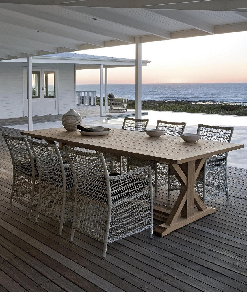 Synthetic wicker and teak furniture