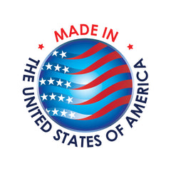 made in USA logo in blue and red