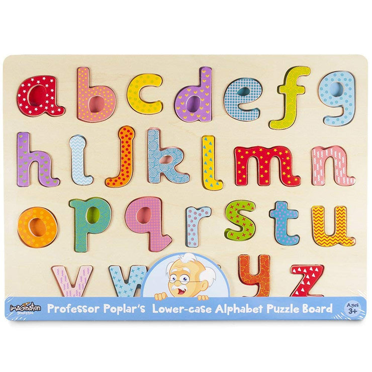 Professor Poplar Lower-case Alphabet Puzzle in plastic wrapping
